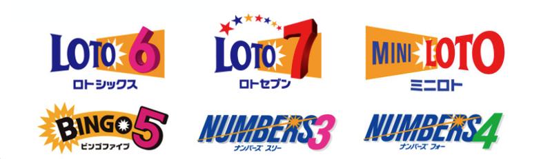 ロト6、ロト7、ミニロト、ビンゴ5、ナンバーズ3、ナンバーズ4のアイコン画像です。