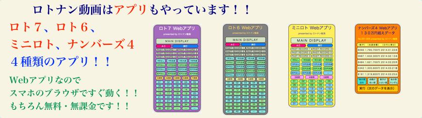 ロト7,ロト6,ミニロト,ナンバーズ4のアプリを紹介する帯広告画像です。