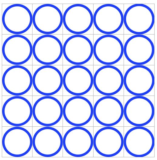 1円玉を5x5で縦横に並べた図です。